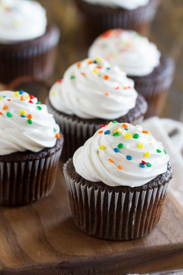 You can't go wrong with a classic like these Devil's Food Cupcakes with Fluffy Frosting! The cupcakes are deep chocolate, contrasted by the light and fluffy marshmallow frosting.