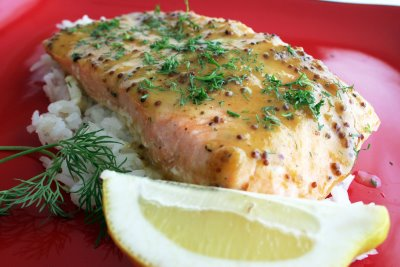 Cookbook of the Month Recipe – Roasted Salmon with Sweet-N-Hot Mustard Glaze