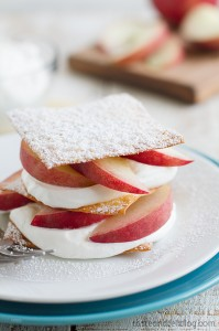 Peach Napoleons with Sugared Wonton Wrappers