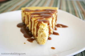 Pumpkin Cheesecake with Caramel Sauce | www.tasteandtellblog.com