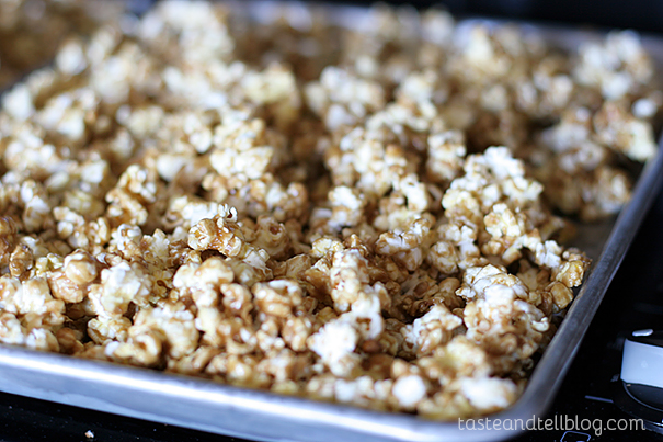 Baked Caramel Corn on www.tasteandtellblog.com