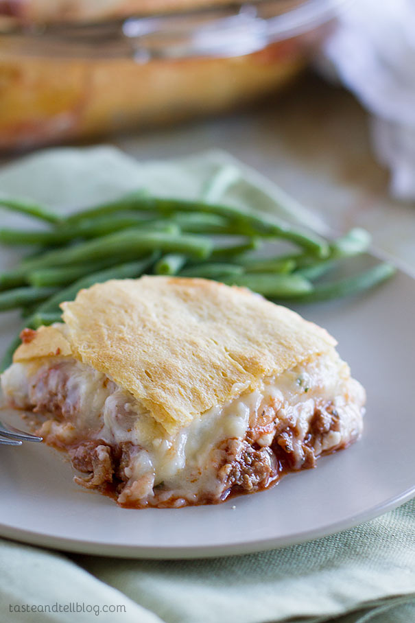 Mock Lasagna Recipe - A play on lasagna, this Mock Lasagna is an easy weeknight dinner with ground beef, lots of cheese and crescent rolls is a family favorite.