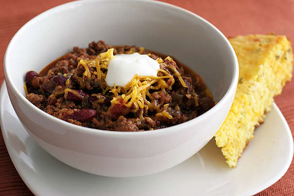 """Warm You Up"" Chili and Spicy Jalapeno Corn Bread"