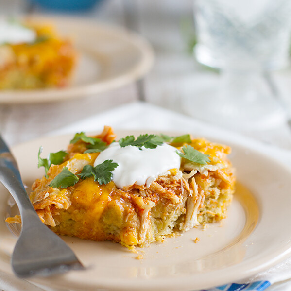 Chicken Tamale Pie on a plate