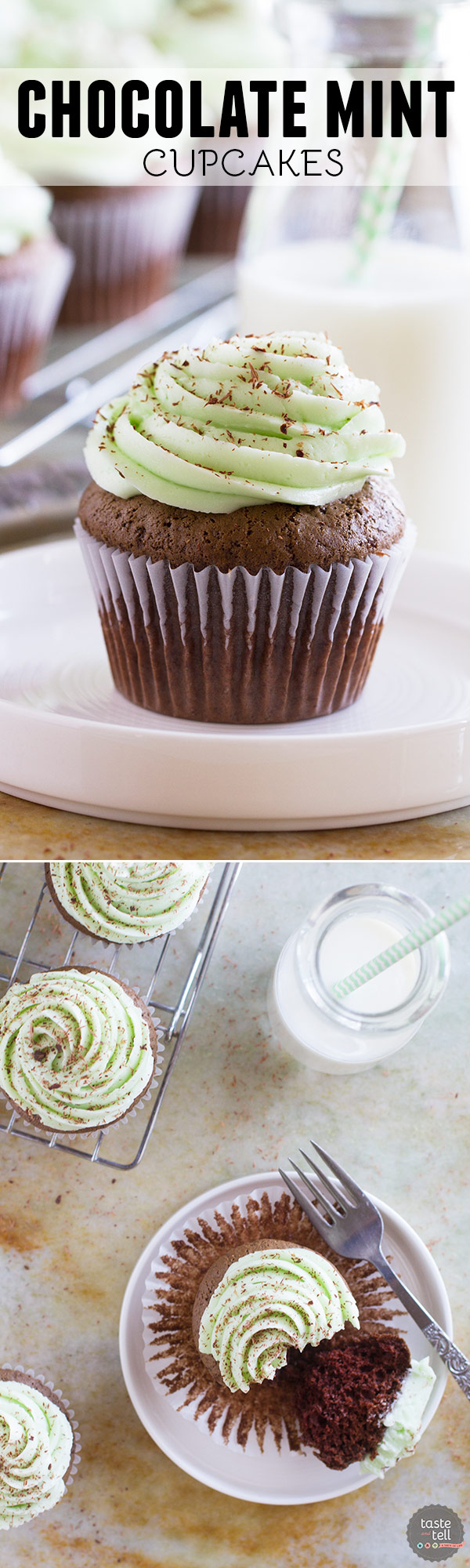 Mint lovers will go crazy for these Chocolate Mint Cupcakes that are topped with a smooth and creamy mint Swiss meringue buttercream frosting.