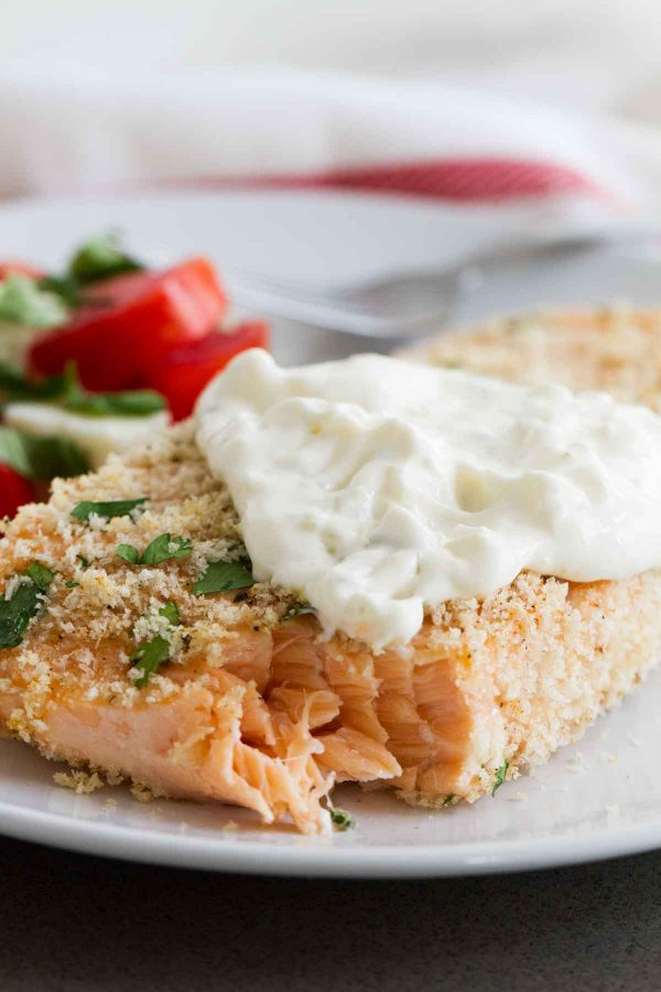 Texture of Baked Salmon and Tartar Sauce