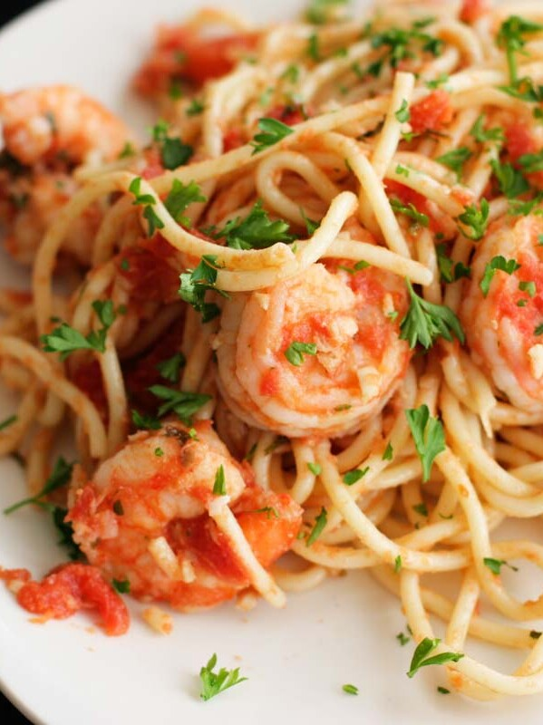 plate with Fra Diavolo Shrimp