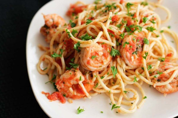 plate with Fra Diavolo Shrimp