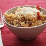 Cookbook of the Month Recipe – Orzo with Sausage, Peppers and Tomatoes
