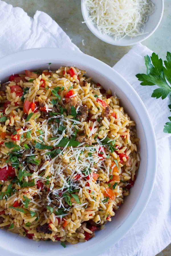 Bowl of Orzo with Italian Sausage