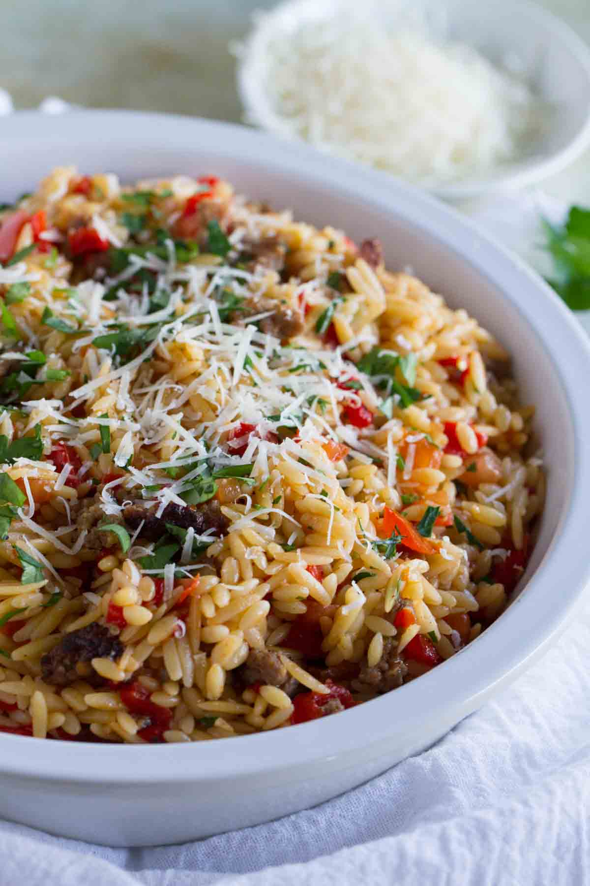 Orzo Recipe With Italian Sausage And Peppers Taste And Tell