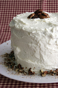 Banana Cake with Praline Frosting and White Chocolate Ganache | www.tasteandtellblog.com