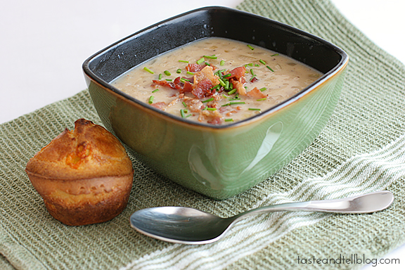 Onion Chowder with Cheesy Onion Popovers | www.tasteandtellblog.com