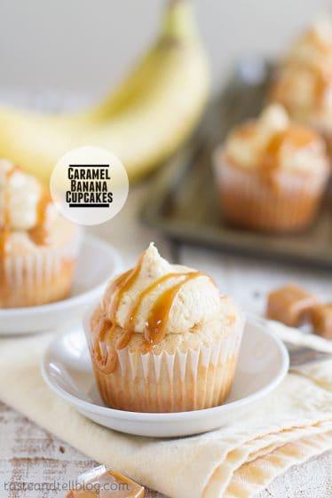 Caramel Banana Cupcakes on Taste and Tell