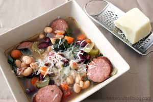 Slow Cooker Tuscan Sausage and Bean Soup | www.tasteandtellblog.com