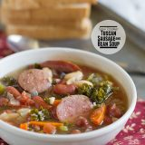 Slow Cooker Tuscan Sausage and Bean Soup on Taste and Tell