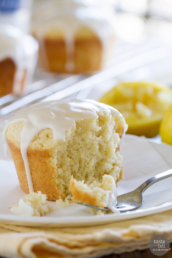 Recipe for Glazed Lemon Cakes on www.tasteandtellblog.com