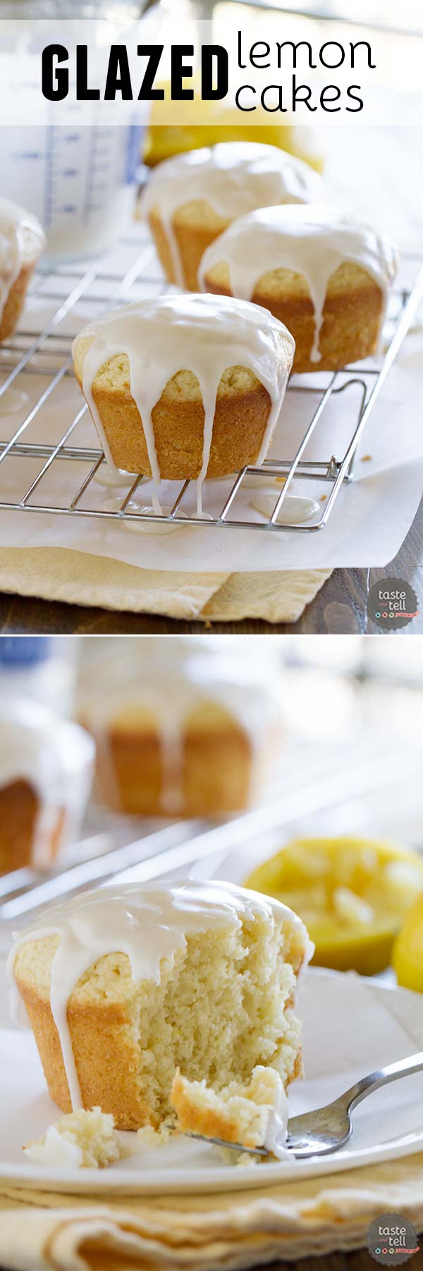 Filled with lots of lemon flavor, these Glazed Lemon Cakes are sweet and tart and a perfect Spring dessert!