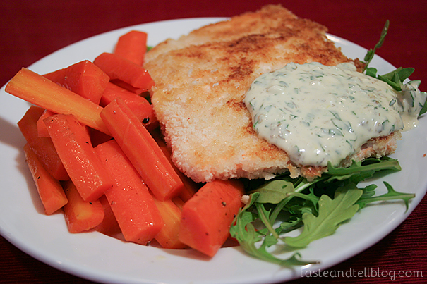 Pan Fried Salmon with Remoulade and Glazed Carrots
