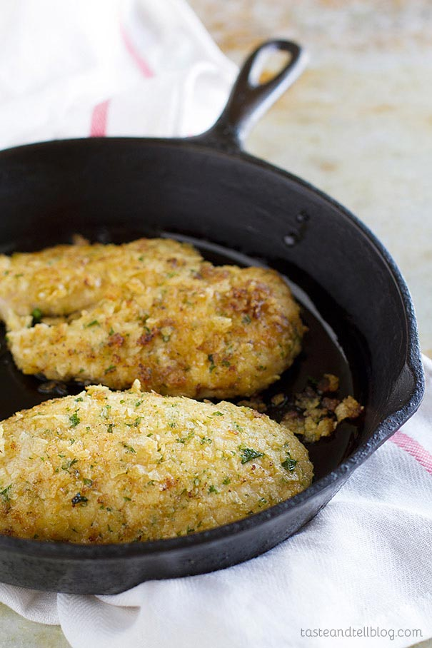 Potato Chip Chicken - chicken breasts that are coated in crushed potato chips and then cooked until golden brown and crunchy.