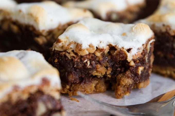 Rocky Road Brownies topped with toasted coconut and toffee