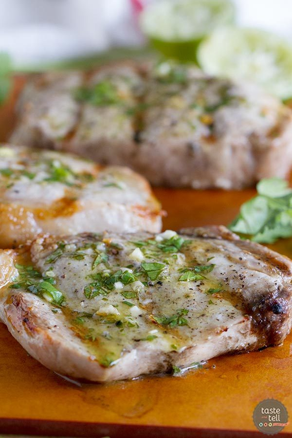 Grilled Pork Chops with Cilantro Lime Sauce