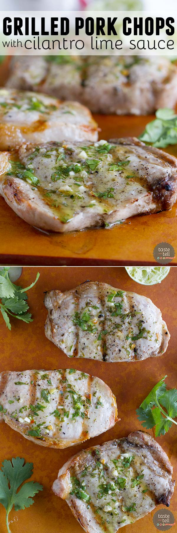 Simple and healthy, these Grilled Pork Chops with Cilantro Lime Sauce are packed with flavor and done in under half an hour.