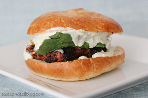 Pork and Chorizo Burgers with Green Chile Mayo | www.tasteandtellblog.com