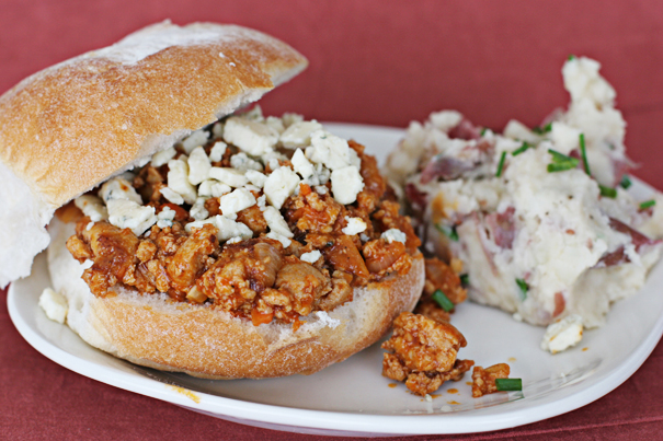 Sloppy Buffalo Joes and Mashed Potato Skins | www.tasteandtellblog.com