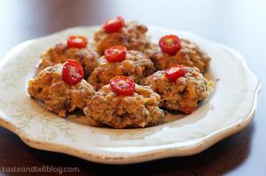 Tiny Sausage Tomato Bites | www.tasteandtellblog.com