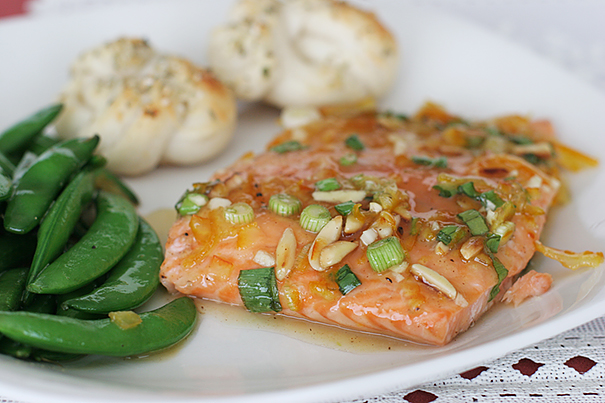 Citrus-Glazed Salmon with Pamesan Rosettes and Gingery Sugar Snap Peas
