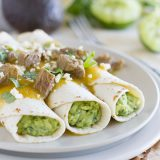 Guacamole Tacos with Tomatillo Steak Sauce - an inside out tacos that you won't be able to stop thinking about!
