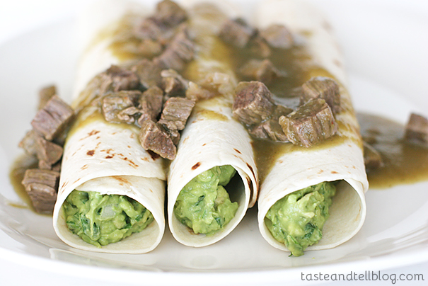 Guacamole Tacos with Tomatillo and Steak Sauce | www.tasteandtellblog.com
