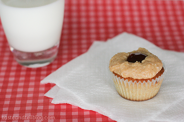Peanut Butter and Jelly Cupcakes   www.tasteandtellblog.com