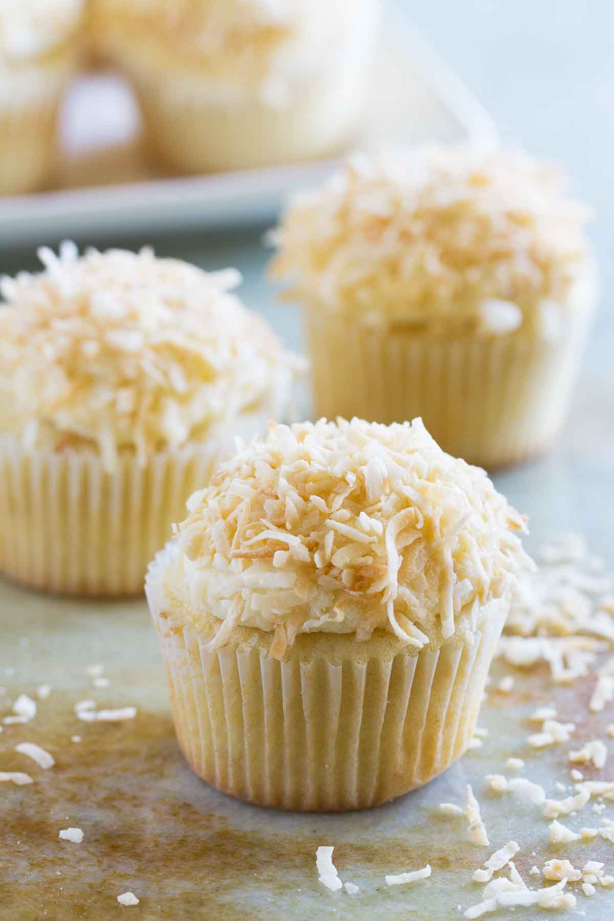 Coconut Snowball Cupcakes - Taste and Tell