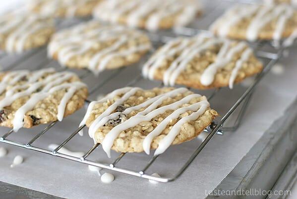 Iced Oatmeal Applesauce Cookies   www.tasteandtellblog.com