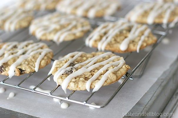 Iced Oatmeal Applesauce Cookies | www.tasteandtellblog.com