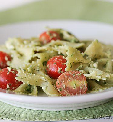 Pasta with Pesto, Feta and Cherry Tomatoes | www.tasteandtellblog.com