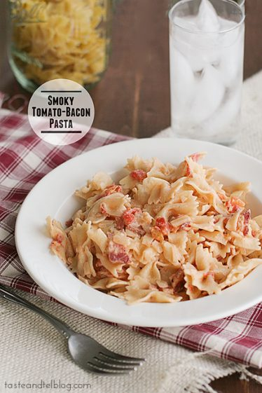 Smoky Tomato-Bacon Pasta | www.tasteandtellblog.com #recipe #pasta #bacon