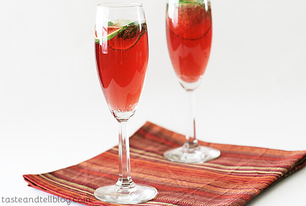 Virgin Pomegranate and Cranberry Bellinis | www.tasteandtellblog.com
