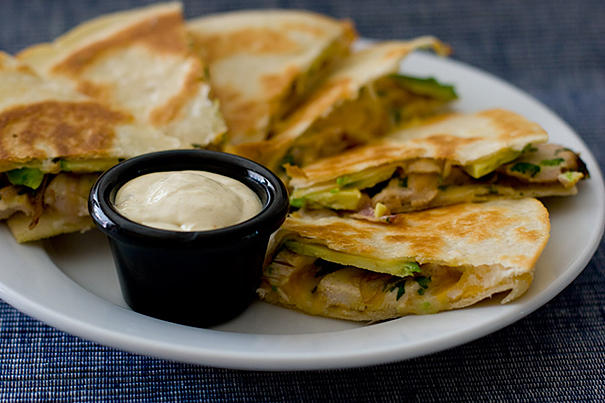 Chicken, Avocado and Caramelized Onion Quesadillas with Chipotle Mustard Dipping Sauce | www.tasteandtellblog.com