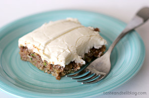 Pineapple Zucchini Sheet Cake with Cream Cheese Frosting | www.tasteandtellblog.com