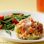 Vegetable & Sausage Stuffed Peppers and Green Beans with Cherry Tomatoes