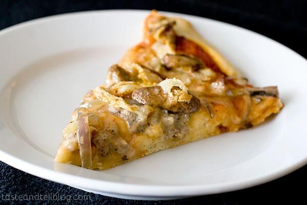 Sausage, Onion, Mushroom and Saint Albray Pizza | www.tasteandtellblog.com
