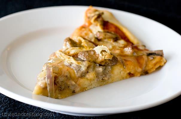 Sausage, Onion, Mushroom and Saint Albray Pizza   www.tasteandtellblog.com
