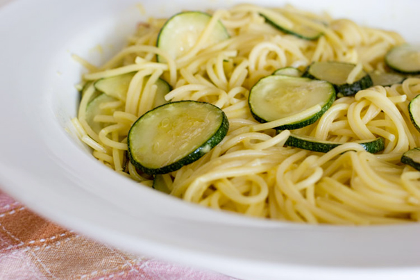 simple pasta dish with fresh zucchini and a saffron infused sauce.
