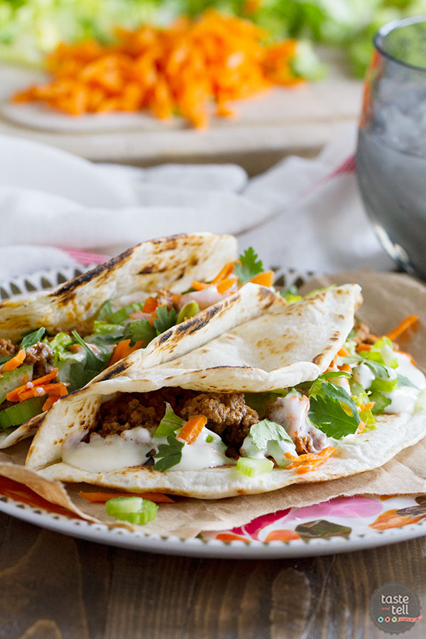 Buffalo sauce isn't just for wings! This Buffalo Beef Taco recipe is a simple weeknight dinner idea, filled with a punch of buffalo flavor.