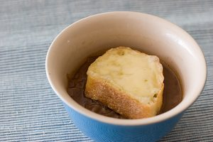 Caramelized Balsamic Red Onion Soup with Cheese Topped Croutons | www.tasteandtellblog.com