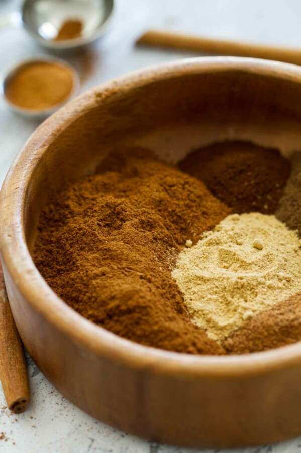 spices for pumpkin pie spice in a bowl