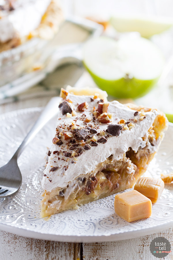 Can't decide between pie or a cheesecake? This Taffy Apple Cheesecake Pie combines caramel apples with a caramel cheesecake mixture, all with a layer of chocolate and nuts. So many flavors in one!